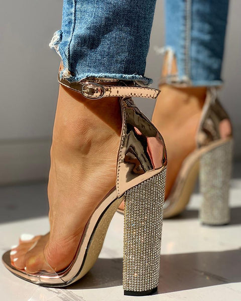 Gold Rhinestone Heels - My Lifes Essentials