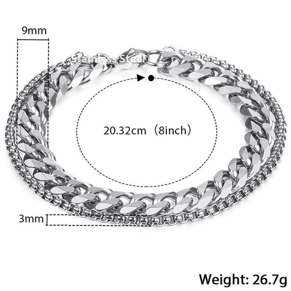 Men's Stainless Steel Double Chain Bracelet - My Lifes Essentials