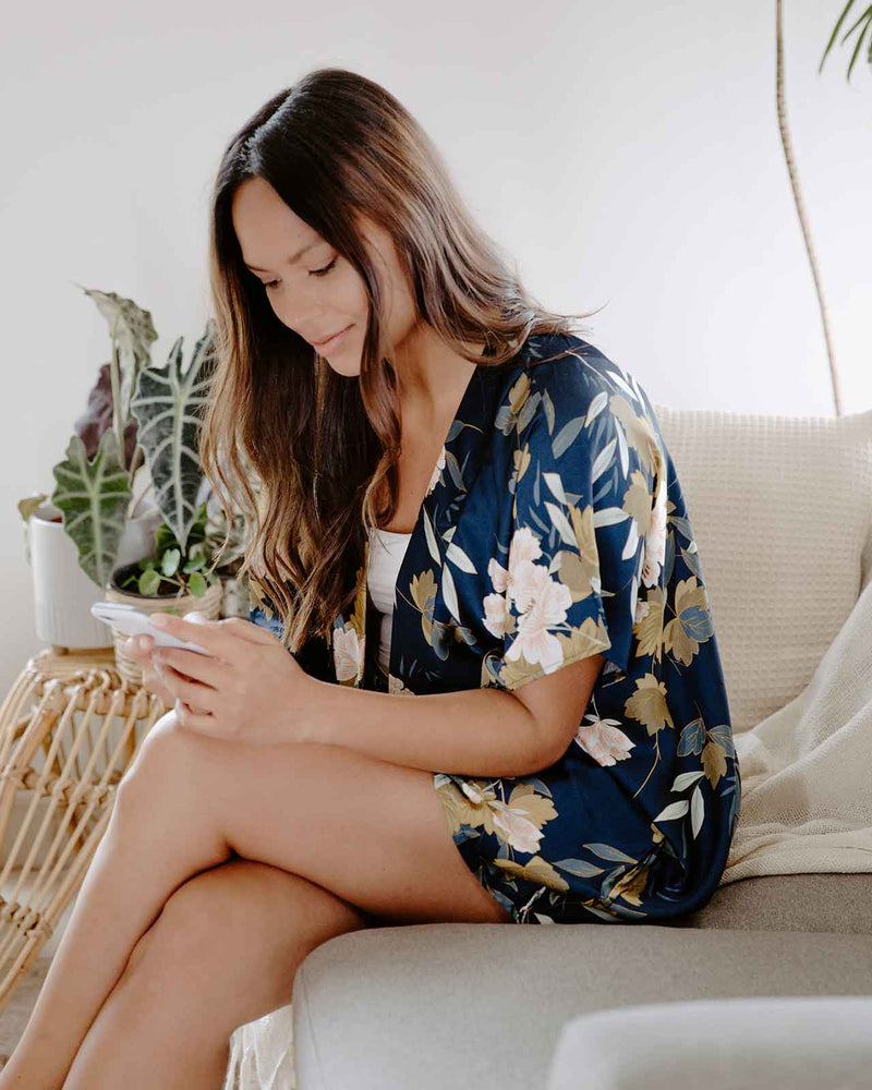 'WORK FROM HOME' Navy and Ivory Kimono Wrap Set