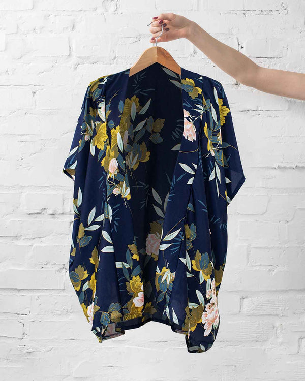 Midnight Floral Kimono Wrap - Fashion Off The Rack