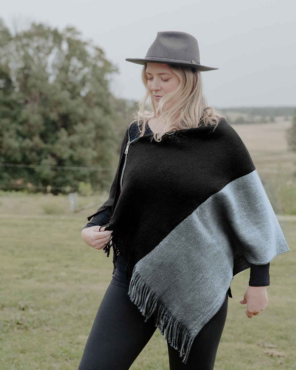 'COZY AT HOME' with a Black Poncho and Leggings Set