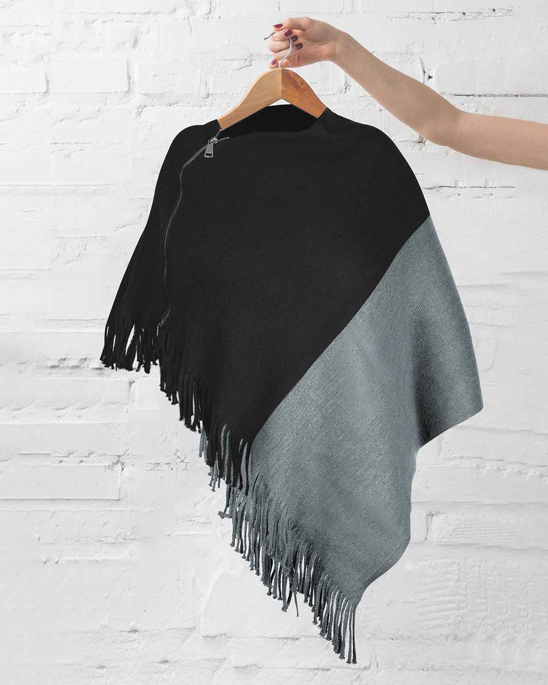 'AMAZINGLY BEAUTIFUL YOU' Ivory and Navy Kimono Wrap with Black Poncho Set