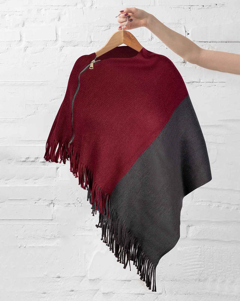'THE ESSENTIAL ZOOM SET' with Wine Poncho, Ivory Kimono and Black Leggings