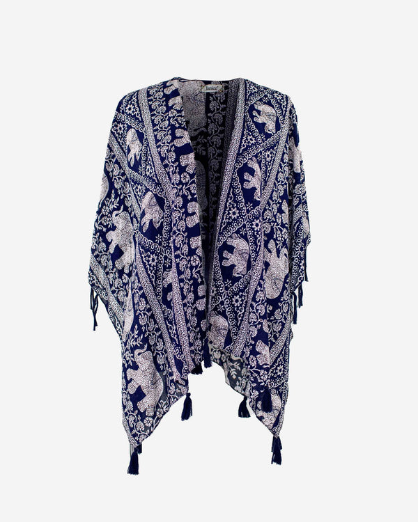 Trunks Up Navy Elephant Kimono - Fashion Off The Rack