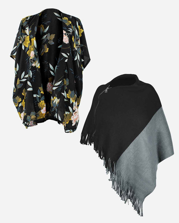 'BLACK IS COMFORT' Kimono Wrap and Poncho Bundle