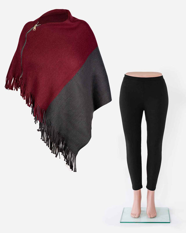 'CURL UP WITH A BOOK' with a Wine Poncho and Black Leggings Bundle