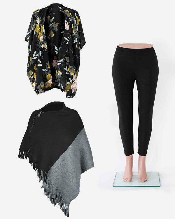 'FULL CLASSIC BLACK' with Black Poncho, Kimono Wrap and Leggings Set