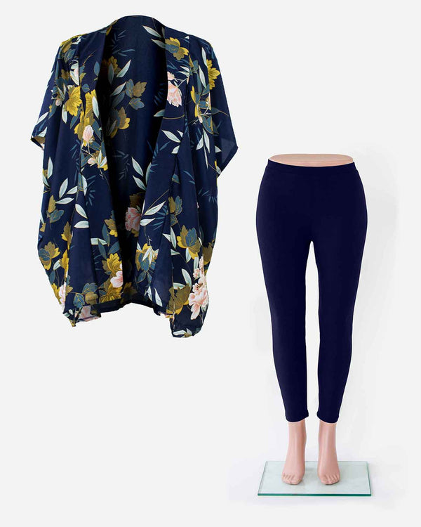 'I LOVE NAVY' Kimono Wrap and Leggings Set