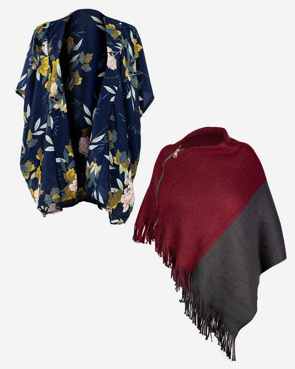 'INDOOR OUTDOOR' Navy Kimono Wrap and Wine Poncho Bundle