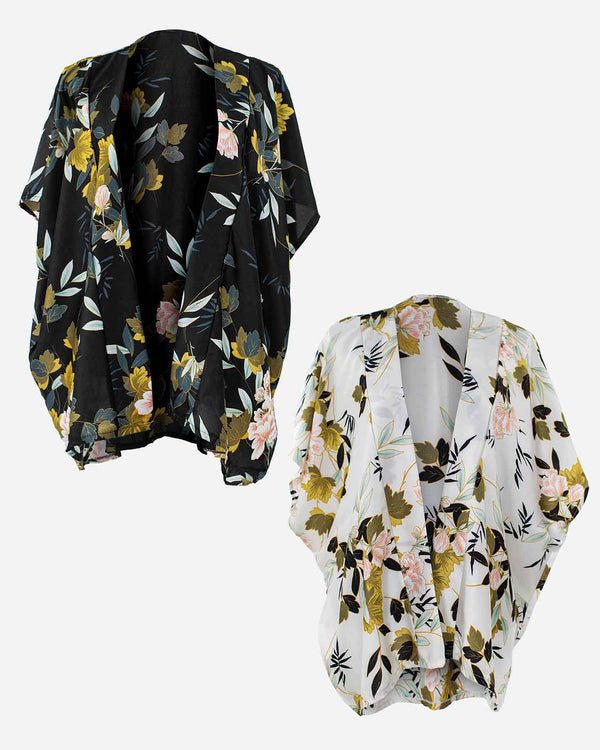 'NIGHT AND DAY' Black and Ivory Kimono Wrap Bundle