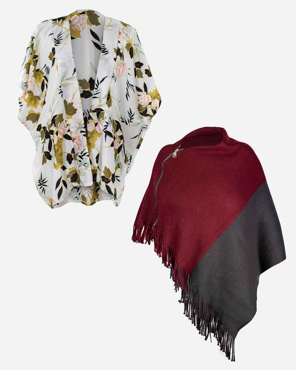 'THE CHILLER' Ivory Kimono Wrap and Wine Poncho Set