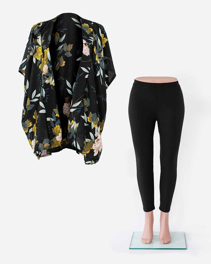 'THE CLASSIC' Black Kimono Wrap and Leggings Bundle
