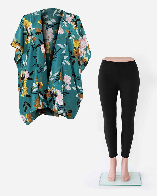 'THE FOREST TRAIL' with Green Kimono Wrap and Black Leggings Set