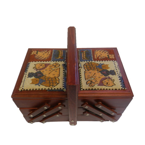 Wood 3 Tier Sewing Box