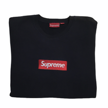 Load image into Gallery viewer, 2015 Supreme Navy Box Logo Crewneck