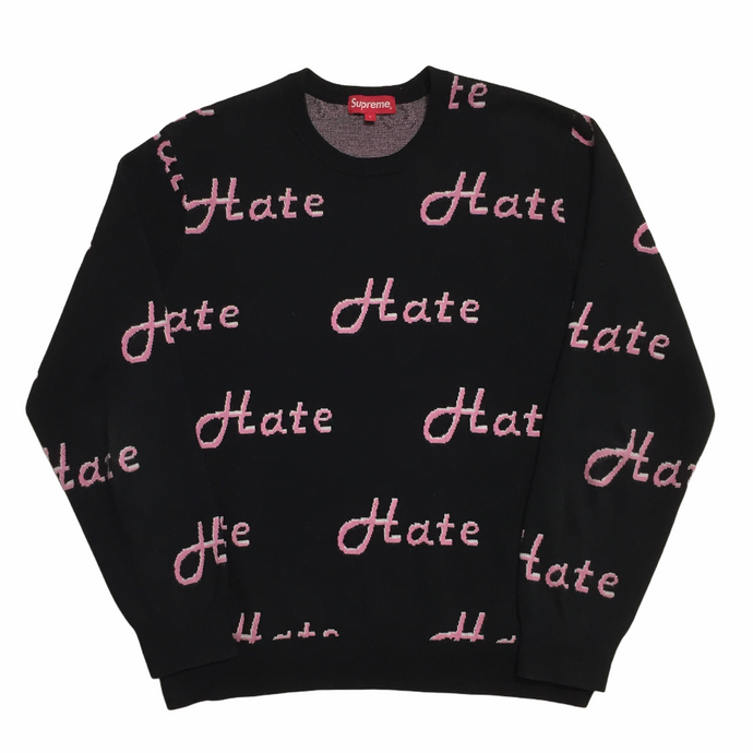 2013 Supreme Pink Black Hate Knit Crewneck