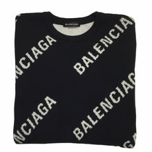 Load image into Gallery viewer, 2018 Balenciaga Black Knit Logo Crewneck