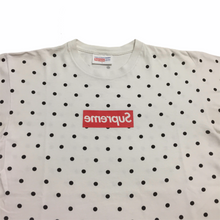 Load image into Gallery viewer, 2012 Supreme x COMMEdesGARÇONS White Polka Dot Box Logo Tee