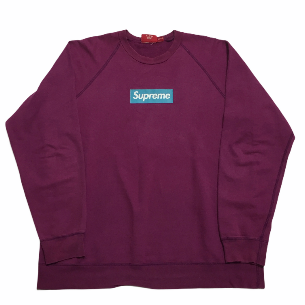 2007 Supreme Fuxia Teal Screenprint Box Logo Crewneck