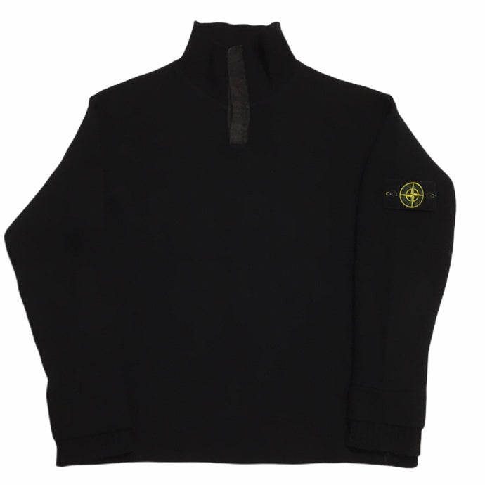 Stone Island 1/4 Zip Black Button Up Sweater