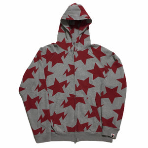BAPE Red Grey Stars Zip Up Hoodie