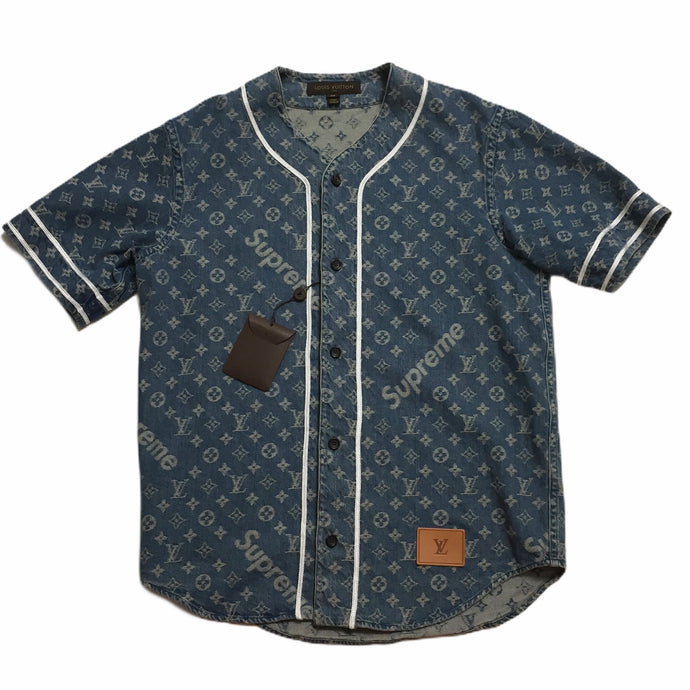 2017 Supreme x Louis Vuitton Navy Denim Baseball Jersey