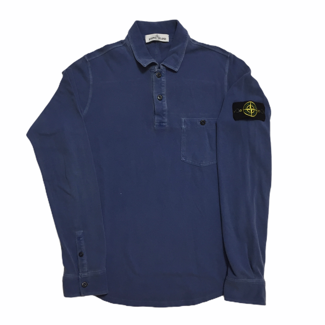 Stone Island Blue 1/4 Button Up