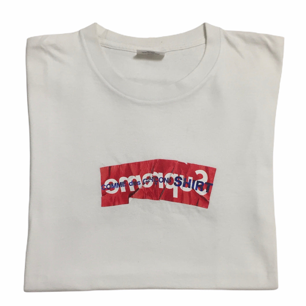 2017 Supreme x COMMEdesGARÇONS Part 5 White Box Logo Tee