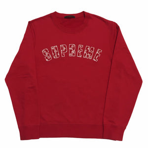 2017 Supreme Louis Vuitton Red Monogram Arc Logo Crewneck