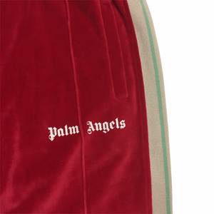 Palm Angels Red Velour Trackpants