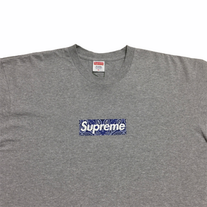 2019 Supreme Grey Purple Paisley Box Logo Tee