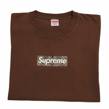 Load image into Gallery viewer, 2019 Supreme Brown Paisley Box Logo Tee