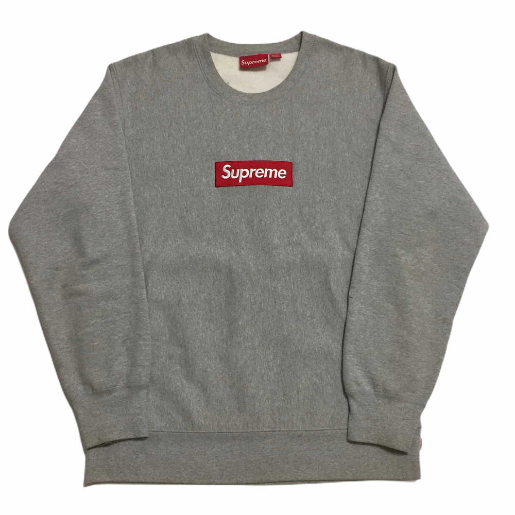 2015 Supreme Grey Box Logo Crewneck