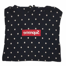 Load image into Gallery viewer, 2012 Supreme x COMMEdesGARÇONS Navy Polka Dot Box Logo Hoodie