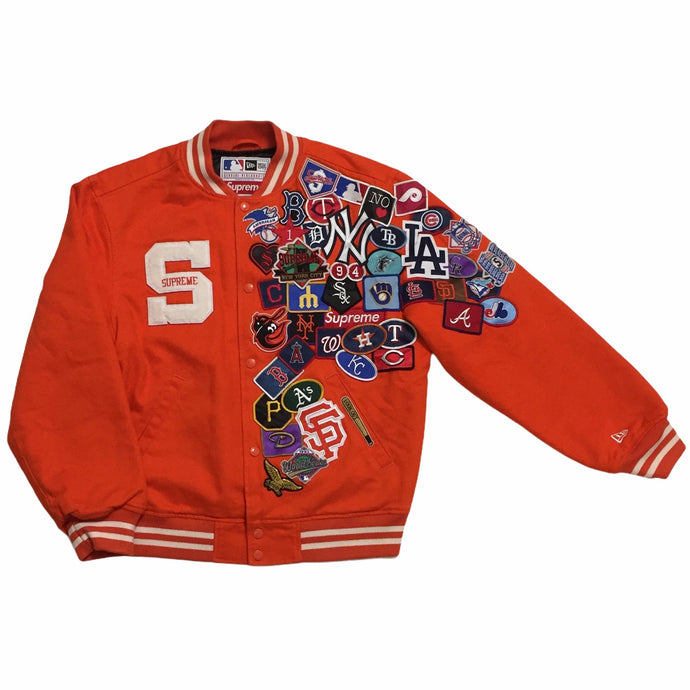 2020 Supreme x MLB Orange Varsity Baseball Jacket