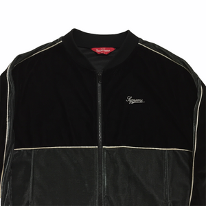 2016 Supreme Black Grey Velour Track Top