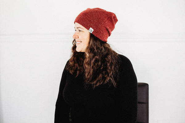 Burgundy Ribbed Sweater Knit Adult Slouchy Beanie