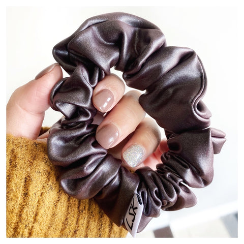 Smoke Faux Leather Scrunchie