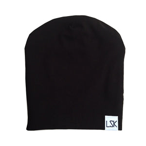 Basic Black Bamboo Knit Slouchy Beanie