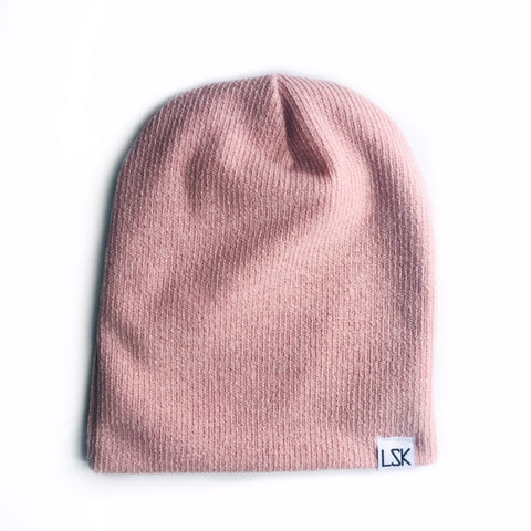 Blush Ribbed Sweater Knit Adult Slouchy Beanie