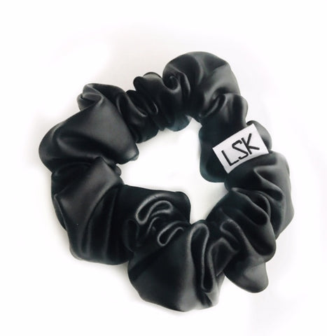 Black Faux Leather Scrunchie