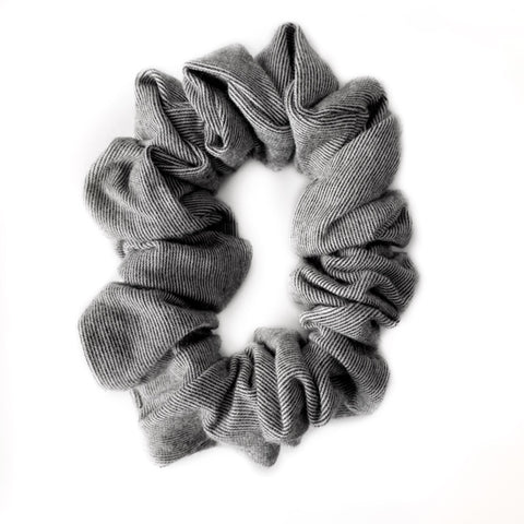 Grey Micro Stripe Bamboo Scrunchie