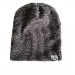 Charcoal Ribbed Sweater Slouchy Beanie