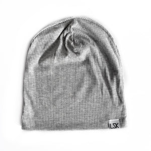 Light Grey Ribbed Slouchy Beanie