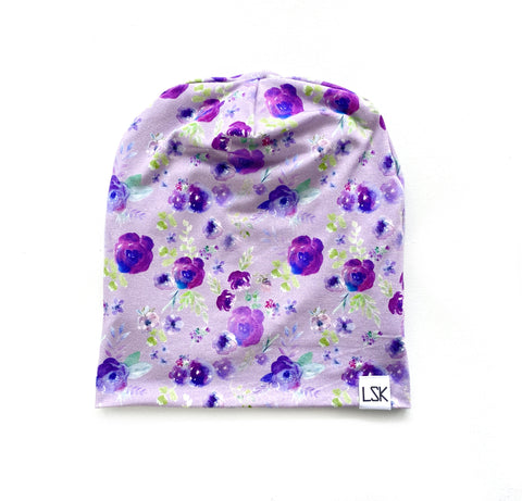 Exclusive Purple Floral Bamboo Adult Slouchy Beanie