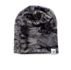 Black Tie Dye Bamboo Adult Slouchy Beanie