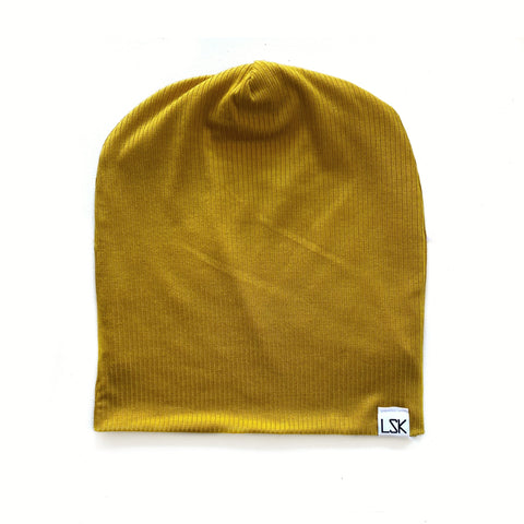 Kid Mustard Ribbed Adult Slouchy Beanie
