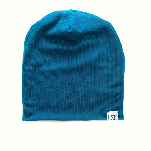 Keepin' It Teal Ribbed Adult Slouchy Beanie