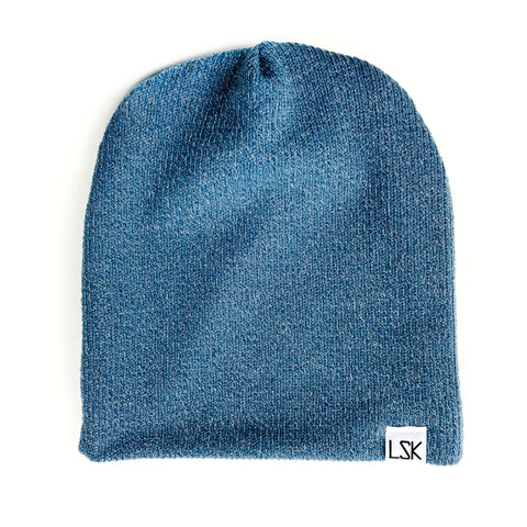 Denim Ribbed Sweater Adult Slouchy Beanie