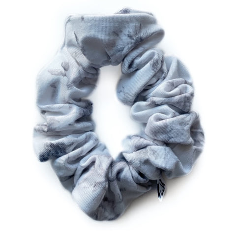 Whimsical Grey Floral Bamboo Scrunchie